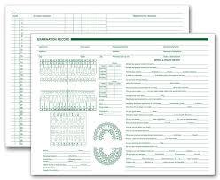 Horizontal Format Dental Exam Record Free Shipping