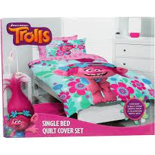 trolls quilt cover set pink single