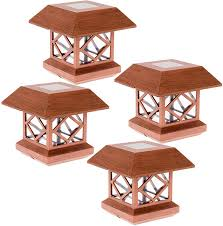 4x4 Wood Post Lights Greenlighting Summit Solar Post Cap Light For 4x4 Wood Posts 4 Pack Brushed Copper