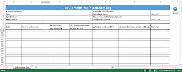 Equipment Service Log Template Equipment Maintenance Log Template Templates At