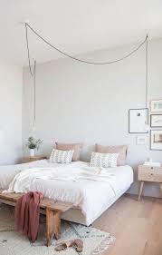 white bed black furniture. Bedroom, Minimalist Bedroom Furniture Black Wooden Bedside Drawer Plain Grey Wallpaint With White Dandellion Wallsticker Bed