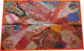 stupefying indian wall decor designing inspiration bohemian tapestry patchwork hanging orange bliss colorful ideas uk