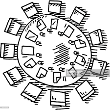 round table clipart black and white. meeting round table drawing : vector art clipart black and white