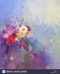 abstract flower painting vase with still lift bouquet of vintage flowers oil painting flowers in soft color and blur style for b