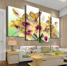 Large Living Room Paintings 4 Panels Yellow Phalaenopsis Purple Flower Large Hd Picture Canvas