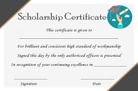 Scholarship Certificate Template 15 College Scholarship Certificate Templates For Students