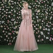 <b>It's Yiiya Evening Dress</b> Pink Long Sleeves Floral Print Lace Up A ...
