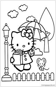 Hello kitty coloring pages for kids. Hello Kitty In The Rain Coloring Pages Cartoons Coloring Pages Free Printable Coloring Pages Online