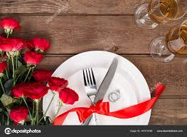 dinner table background. Valentines Day Dinner Table Setting With Red Ribbon, Roses, Knife And Fork Ring Over Oak Background. Still Life \u2014 Photo By Nazarov.dnepr@gmail.com Background S