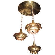 three lotus flower brass pendant chandelier mid century modern feldman for