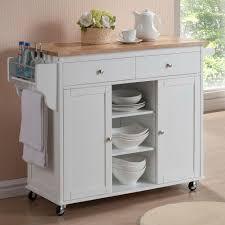 Baxton Studio Meryland White Kitchen Cart with Storage 28862 5408 HD