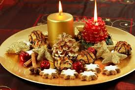 Christmas table decoration with candles and cookies | Stock Photo |  Colourbox