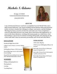 Michele Adams Bartending Resume Page