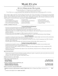 Resume Template Events Manager Resume Sample Free Career Resume