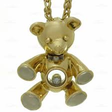 chopard happy diamond 18k yellow white gold teddy bear pendant necklace