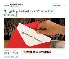 oscars envelope mix up specsavers mocks moment warren beatty  the specsavers tweet