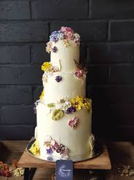 Mixed Blossom Butterfly Tier Wedding Cake Bloominghills