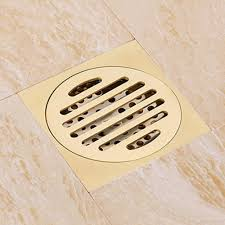 O Online Cheap Gold Finish Solid Brass Square 4 Bathroom Floor Drain Shower  Drainer Waste With Single Function Vertical Holes Cover By Dragonflyhg