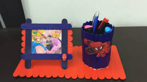 how to make spiderman pen stand with photo frame at home easy diys