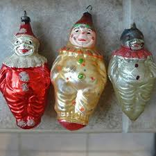 Antique Glass Xmas Ornaments CLOWNs