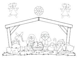 Manger Scene Coloring Pages Printable Nativity Colouring For Adults