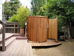 exotic wooden round outdoor shower enclosure gallery