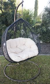 hanging egg chair black chairs outdoor double rattan wicker furniture latte full size