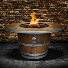wine barrel outdoor furniture. Enthusiast 42-Inch Wine Barrel Fire Pit Table By Vin De Flame - Chat Height Vintage Top 65,000 BTU Match Light Burner : Ultimate Patio Outdoor Furniture U