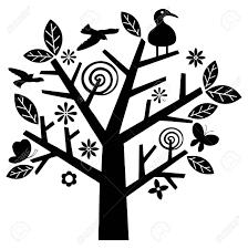 ベクトルの木と鳥イラストシンプルでモダンなデザイン