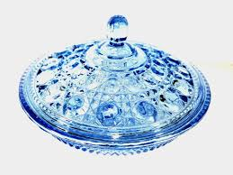 vintage candy dish iridescent blue glass covered candy dish