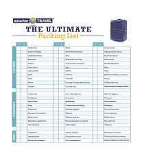 40 Awesome Printable Packing Lists College Cruise Camping Etc