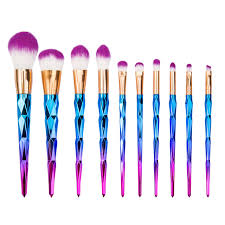 unicorn brushes. 10pcs pro unicorn diamond mermaid make up brushes set powder foundation contour rainbow makeup eyeshadow brush