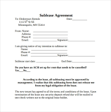 Sample Sublease Agreement Free 25 Sample Free Sublease Agreement Templates In Google