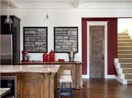 wall paint colors wood kitchen accessories minimalist design with black cabinet and double framed decorative chalkboard for red and
