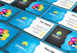 Social Media Business Card Layout With Communication Icons