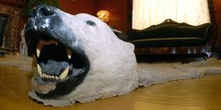 polar bear rug faux fur with head n