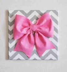 large pink bow on gray and white chevron 12 canvas wall art baby nursery wall decor