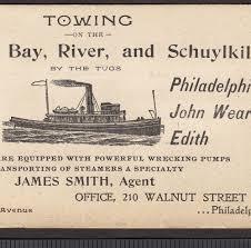 tow tug c 1800 s tug ship philadelphia steamer towing madeira wm beard delaware bay card