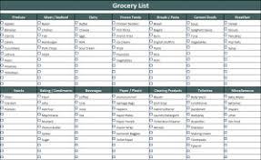 grocery checklist template grocery list template