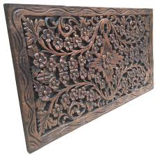 Wood Carved Wall Decor Wood Carved Panel Decorative Thai Wall Relief Panel Sculpture