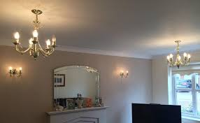2 x 5 lamp chandeliers 2 matching wall lights in gold finish