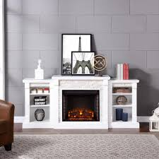 southern enterprises nassau 71 75 in w faux stone electric fireplace with bookcases in white