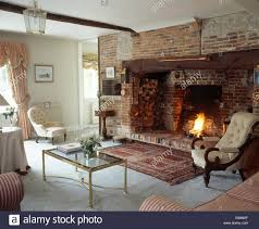 Persian Rug Living Room Oriental Rug In Front Of Inglenook Fireplace In Cottage Living