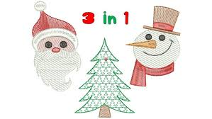Embroidery Designs Simple Christmas Tree Vintage Santa Snowman 3 Sizes Download Machine Embroidery Design