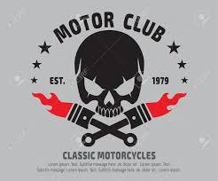 Emblem Design Motor Skull Emblem Design Vectorlogographicsticker Label Arm