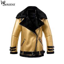 fashion metal gold faux leather suede coats winter women casual zipper shearling motorcycle thicken warm fur integrated jackets malaysia