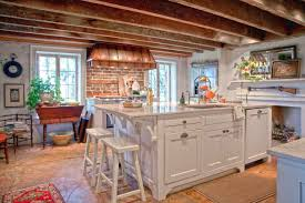white traditional kitchen copper. Farmhouse-kitchen-with-copper-range-hoods-and-brick- White Traditional Kitchen Copper O