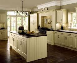 kitchen dark wood floors black tile floor off white cabinets with color blue center island durable