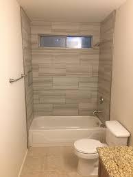 gray 12 x 24 tile brick pattern tub