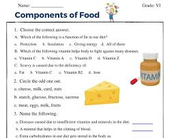 Your body needs the right fuel to grow, develop, and work properly. Components Of Food Class 6 Worksheet